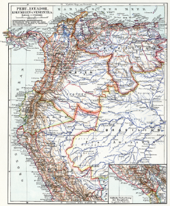 Map showing Peru and Colombia circa 1910